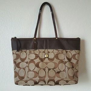 Coach signature stripe large tote